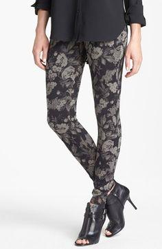 Hue Tonal Floral Jeans Leggings | Nordstrom