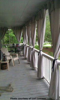 Drop cloth patio curtains! brilliant!