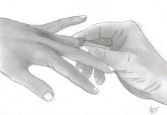 mains fiancaille/mariage au graphite