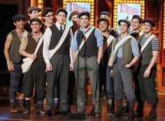 Ben Fankhauser, Corey Cott, and the cast of Newsies announcing at the Tonys