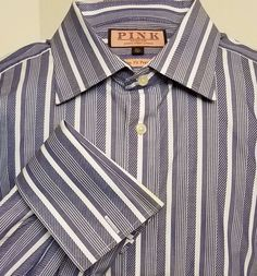 Pink Thomas Pink Prestige Slim Fit Dress Shirt Blue Striped French Cuff SZ 16.5 #ThomasPink #FrenchCuff