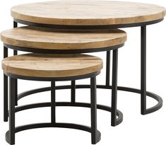 Wooden Coffee Table Nested Coffee Table Set Of Three Wood & Metal Side Table End Tables Metal Side Table, New Furniture, Wood And Metal, Decor Interior Design, End Tables, New Homes, Home And Garden, Living Room, Home Decor