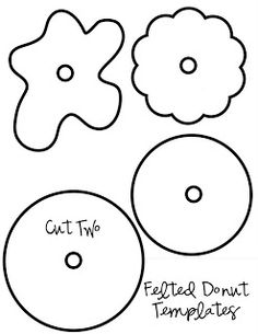 My Pretties: Felt Donuts Felt donut template and tutorial I think felt donuts would make cute pincushions ikat bag: Confections (felt donuts and cookies) 25 Free Toy Patterns to Sew for the Kids You guys. Perfect for a kitchen garland! Felt Diy, Felt Crafts, Diy And Crafts, Crafts For Kids, Paper Crafts, Fabric Crafts, Mery Chrismas, Felt Templates, Applique Templates