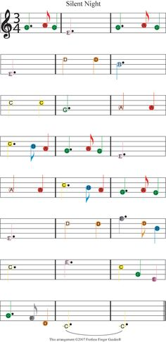 "Easy Guitar Christmas Sheet Music | Easy Guitar Songs Color Coded Christmas Sheet Music for ""Silent Night"""