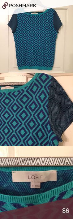 Royal Blue LOFT Short Sleeve Sweater Royal blue and turquoise LOFT short sleeve sweater, sleeves are a different pattern, high neck line, size medium, like new LOFT Tops Blouses