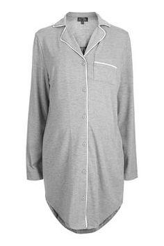 MATERNITY Piped Pyjama Shirt Dress