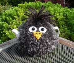 Hand Knitted Fluffy Blackbird Tea Cosy – for small 2 cup teapot in Home, Furniture & DIY, Cookware, Dining & Bar, Tableware, Serving & Linen   eBay