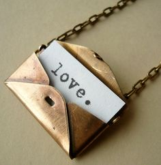 Secret Love Letter Vintage Brass Envelope Locket Necklace. So cute!