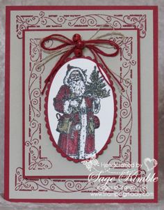 If you love to make vintage Christmas cards, you need the Father Christmas stamp set in your craft room! | Stamping Madly