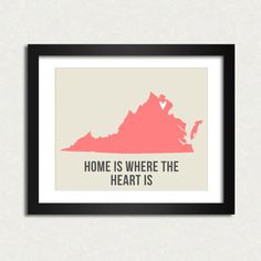 Virginia Home is 10 x 8 inch Travel Map I heart USA SALE buy 2 get 3. $19.90, via Etsy.