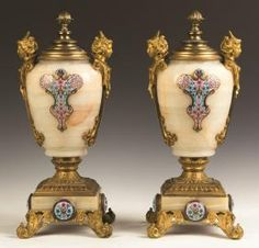Pair of Gilt Bronze and Cloisonné Enamel Onyx Urns