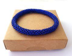Bead Bracelets – Royal Blue Nepal Roll On Beaded Bangle Bracelet    – a unique product by Rebeke on DaWanda