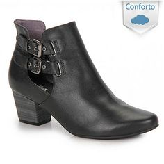 Bota Cut Out Usaflex By Perfetto Q6627 - Preto