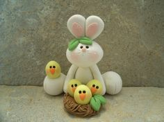 Easter Bunny and Nest of Chicks by countrycupboardclay on Etsy, $12.95