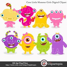 Cute Little Monster Girls Digital Clipart for Personal and Commercial Use/ INSTANT DOWNLOAD via Etsy