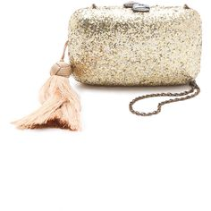 Serpui Marie Divine Glitter Minaudiere with Tassel ($66) ❤ liked on Polyvore featuring bags, handbags, clutches, tassel handbag, strap purse, brown handbags, glitter handbag and beaded purse