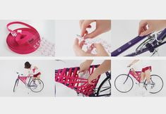 Korean designer comes up with a cool DIY bike storage system that can hold onto your stuff at faster speeds and with more style. Bike Storage Systems, Bike Storage Solutions, Bicycle Storage, Bicycle Rack, Diy Bike, Velo Design, Cool Bike Accessories, Bike Frame, Frame Bag
