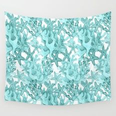 Coral And Star Fish In B… Wall Tapestry