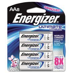 Lithium Batteries, Aa, 8/pack