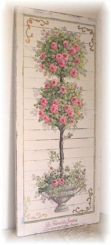 Shabby Chic . Topiary Painted Panel . sdrive-storage.s3.amazonaws.com