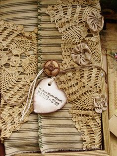 Love the ticking, crochet and fabric roses. Crochet Projects, Sewing Projects, Fabric Journals, Art Journals, Linens And Lace, Fabric Art, Fabric Books, Handmade Books, Bookbinding