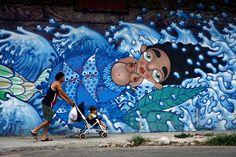 Yemaya, goddess of the Sea- Victor Mora (Collaborative Exhibition) - Havana Street Art Murals Street Art, Street Art Graffiti, Graffiti Artwork, Goddess Of The Sea, Cuban Art, Best Street Art, Mermaids And Mermen, Unusual Art, Outdoor Art