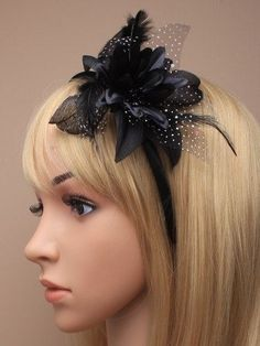5c5b4460f07381 Lily Flower and Feather Fascinator on a Slim Satin Headband Hair Band Pink  Grey