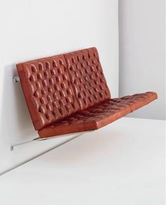 "scandinaviancollectors: "" Poul Kjærholm, Suspended sofa, model no. PK Seamless bent brushed steel frame, original red Nigerien leather tufted cushions, canvas back tied with halyard cord. Sofa Furniture, Sofa Chair, Vintage Furniture, Modern Furniture, Furniture Design, Danish Furniture, Tufted Sofa, Poul Kjaerholm, Wall Seating"