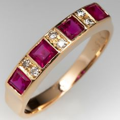 The band features four square step cut rubies in flush settings, alternating with six bead set, round single cut diamonds. The ring measures at the top, rises above the finger, tapering to wide and thick at the base of the Diamond Shapes, Diamond Cuts, Ruby Ring Vintage, Ruby Anniversary, July Birthstone, Ring Designs, Band Rings, Diamonds, Gold