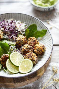 ... quinoa carrot balls & avocado cream ...