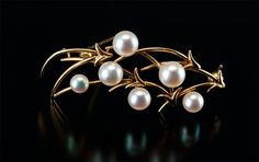 Antique Pearl Brooch, 14k Yellow Gold with pearls.  $195