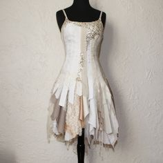 upcycled clothing . tattered alternative wedding dress via Etsy
