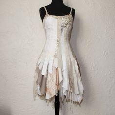 upcycled clothing . tattered alternative wedding dress via Etsy