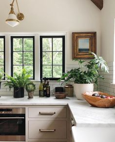 Black framed kitchen