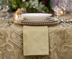⌺ Splendid Table Settings ⌺   La Tavola Fine Linen: Nandini Guilded Net Leak Overlay & Topaz Leek Underlay/Napkin