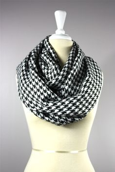 Houndstooth scarf WIDE  black and white scarf by EasyStreets, $25.00
