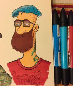 Random dude with blue hair🤘 . #tulart #mustache #sketch #doodle #character #characterdesign #ink #brushpen #drawing #illustration #instaart #instaartist #instadraw #sketchbook #instadaily #artoftheday #like #follow #weekend #artistsoninstagram #markers #hipster #visdev #bluehair #characterart #artist_community #dailyart #illustrationoftheday #saturday #viralart