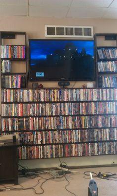 Blu Ray/ DVD Shelves Built Around My Flat Screen In My Living Room. I
