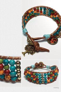 Boho Chic Leather-wrapped bracelet