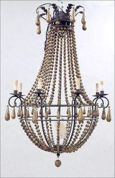 wooden bead chandelier - Google Search