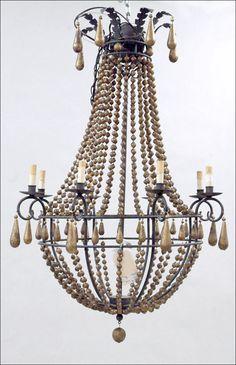 wooden bead chandelier - Google Search