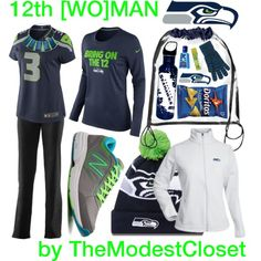 """Seahawks Gameday Essentials"" by themodestcloset on Polyvore #seahawks"