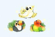65 ideas fruit illustration kawaii for 2019 Illustration Kawaii, Fruit Illustration, Cute Kawaii Drawings, Kawaii Art, Bird Drawings, Love Birds Drawing, Cute Chibi, Cute Birds, Cute Cartoon