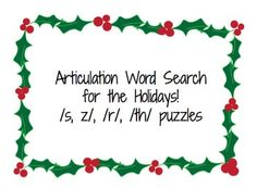 Free! Articulation Word Search for the Holidays: s,z,r,th puzzles thanks to ifonlyihadsuperpowers tot!
