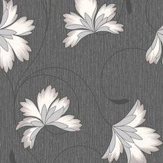 Crown Flourish Wallpaper on Jet Black Background with Cream flowers. Cream Flowers, Bright Flowers, Love Wallpaper, Silver Glitter, Flourish, Black Backgrounds, Looks Great, Texture, Unique
