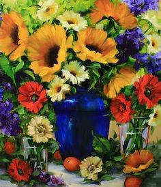 Dance by the Light Sunflowers and Daisies by Texas Artist Nancy Medina, painting by artist Nancy Medina
