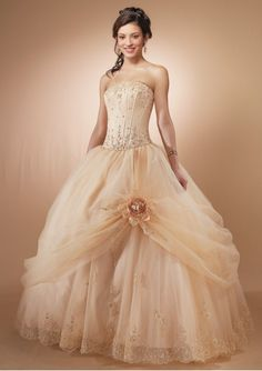 Perfect Fashion Satin and Organza Strapless Empire Boned Bodice Gown Quinceanera For Sale On Sale