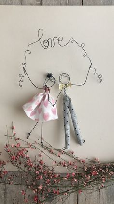 Wire and textile unique handmade creations with a soul Wedding, Events,Kids decor For kind hearts onlyTwo hearts and one soul that's love bemyvalentine Diy Crafts To Sell, Crafts For Kids, Arts And Crafts, Wire Crafts, Paper Crafts, Wire Art Sculpture, Doll Crafts, Diy Art, Paper Dolls
