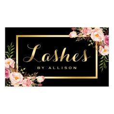 Shop Lashes Script Modern Makeup Black Gold Floral Business Card created by CardHunter. Business Makeup, Beauty Business Cards, Salon Business Cards, Artist Business Cards, Modern Business Cards, Business Card Design, Makeup Black, Lashes Logo, Bussiness Card