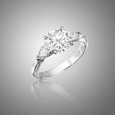 Traditional Three Stone Engagement Ring - Wedding look We can customize this ring especially for you!!